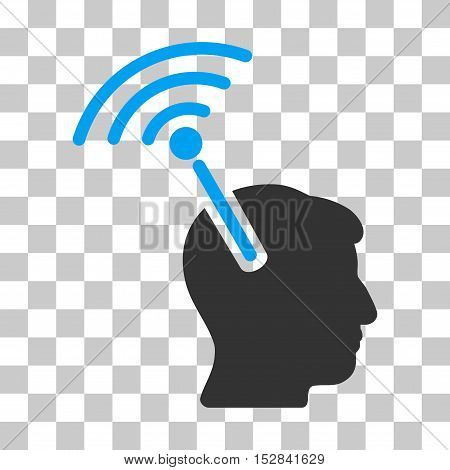 Blue And Gray Radio Neural Interface interface icon. Vector pictograph style is a flat bicolor symbol on chess transparent background.