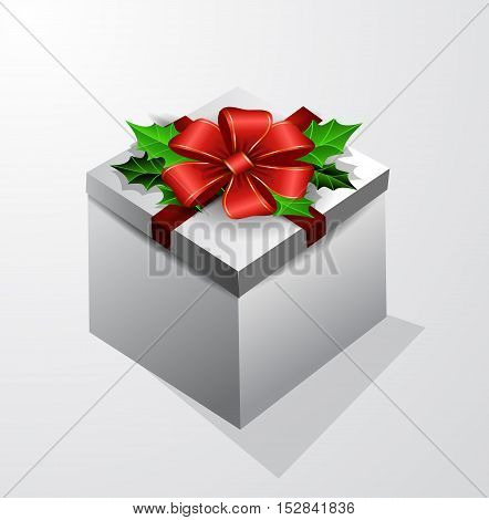 Gift box with bow isolated with holly leaves