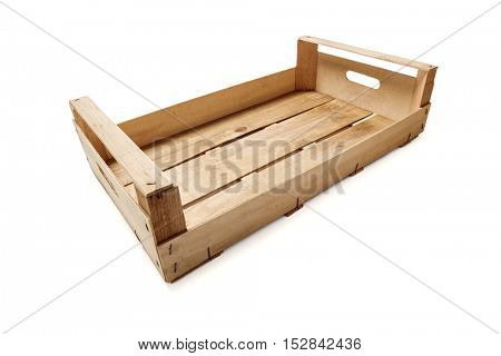 Empty wooden crate on white background -Clipping Path