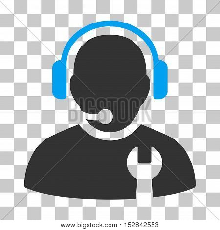 Blue And Gray Service Operator toolbar pictogram. Vector pictogram style is a flat bicolor symbol on chess transparent background.