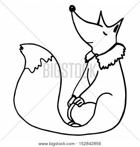 Cute dreaming fox. Contour freehand illustration isolated on white background. Cartoon animal character for prints, designs, cards, coloring book pages.