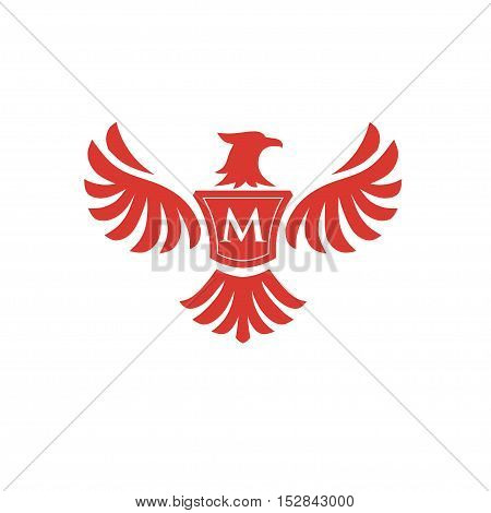 elegant phoenix with letter M consulting logo concept,  eagle with letter M logo concept