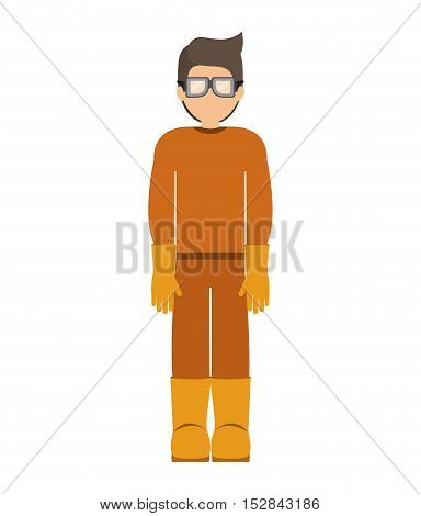 avatar worker with industrial security  protection equipment over white background. vector illustration