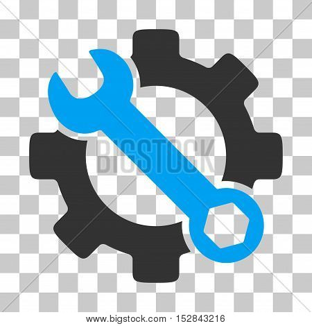 Blue And Gray Service Tools toolbar pictogram. Vector pictogram style is a flat bicolor symbol on chess transparent background.