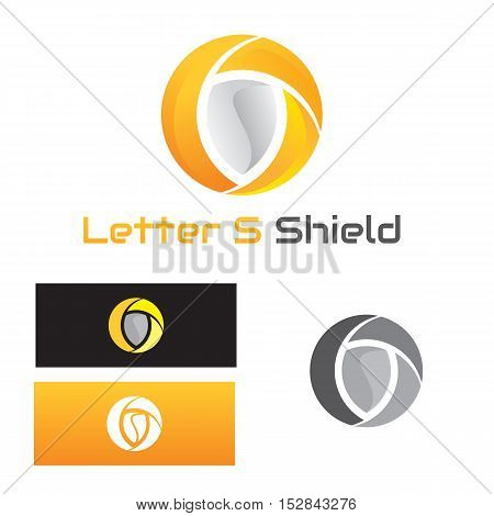 logo of shield with subtle s initial inside divided circle