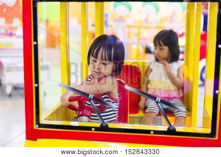 Asian Chinese Little Sister Driving Toy Bus