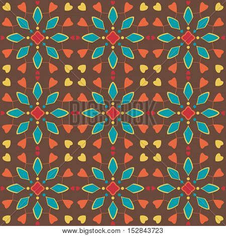 Seamless pattern of spots of various colors circles and lines on a dark background