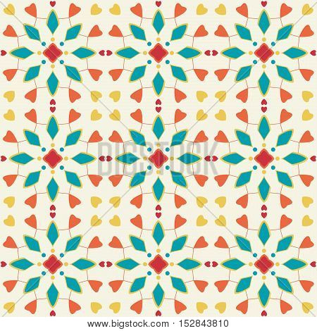 Seamless pattern of spots of various colors circles and lines on a light background