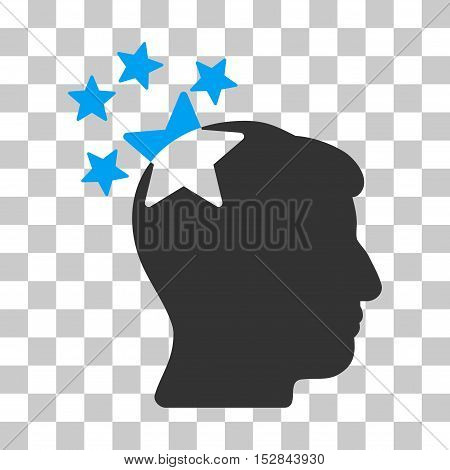 Blue And Gray Stars Hit Head toolbar icon. Vector pictograph style is a flat bicolor symbol on chess transparent background.