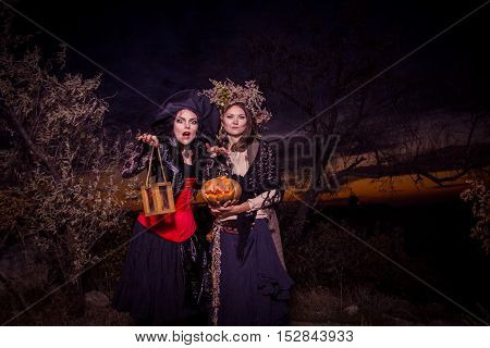 Beauty Halloween witch holding a pumpkin in sunset