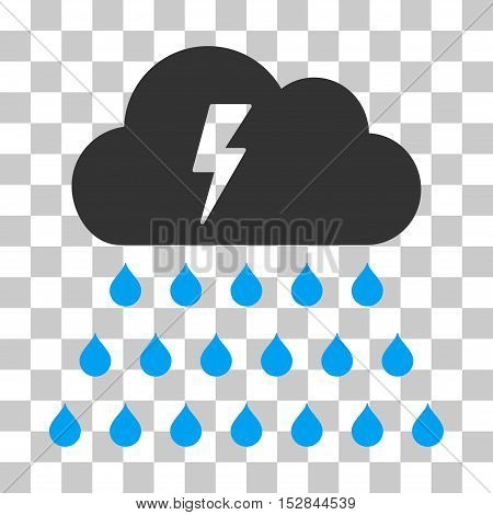 Blue And Gray Thunderstorm Rain Cloud toolbar icon. Vector pictogram style is a flat bicolor symbol on chess transparent background.