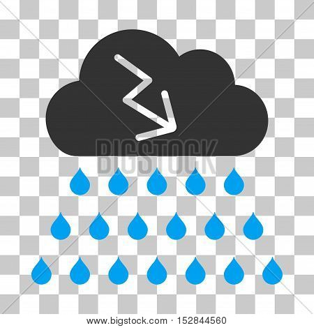 Blue And Gray Thunderstorm Rain Cloud interface toolbar icon. Vector pictograph style is a flat bicolor symbol on chess transparent background.