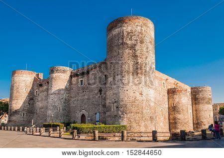 Panorama of the Castello Ursino also known as Castello Svevo di Catania is a castle in Catania Sicily southern Italy.