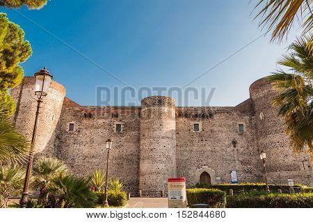CATANIA ITALY - SEPTEMBER 13 2015: Castello Ursino also known as Castello Svevo di Catania is a castle in Catania Sicily southern Italy.