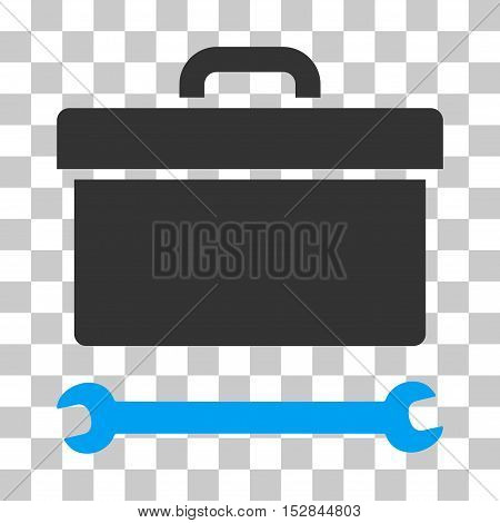 Blue And Gray Toolbox toolbar pictogram. Vector pictogram style is a flat bicolor symbol on chess transparent background.