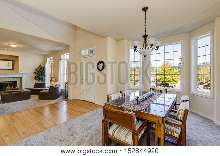 Dining Room Interior In Luxury House.