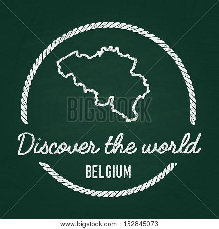 White Chalk Texture Hipster Insignia With Kingdom Of Belgium Map On A Green Blackboard. Grunge Rubbe