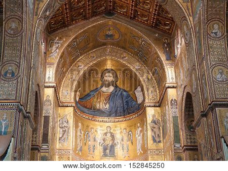 MONREALE ITALY - SEPTEMBER 8 2015: Christ Pantocrator it's mosaic in the Cathedral of Montreale or Duomo di Monreale near Palermo Sicily Italy.