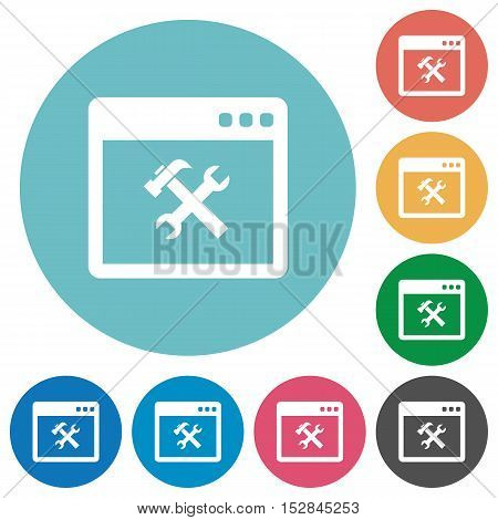 Flat application tools icon set on round color background.