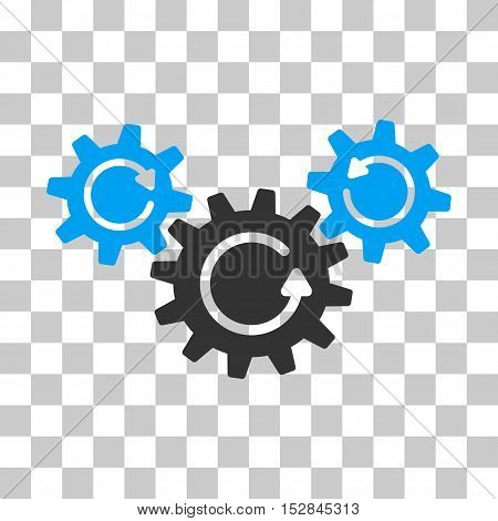 Blue And Gray Transmission Wheels Rotation toolbar icon. Vector pictograph style is a flat bicolor symbol on chess transparent background.