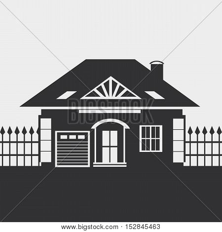 One-storey house with an attic. Provincial Country-house. Silhouette.