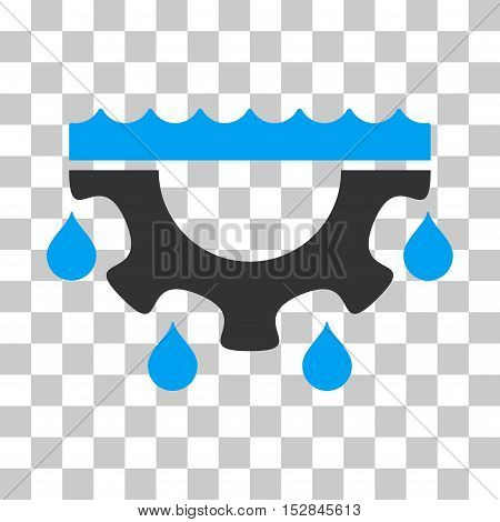 Blue And Gray Water Gear Drops interface toolbar icon. Vector pictograph style is a flat bicolor symbol on chess transparent background.