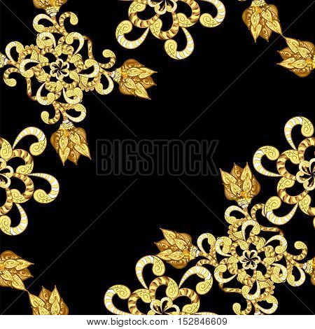 Vintage pattern on black background with golden elements. Vector.
