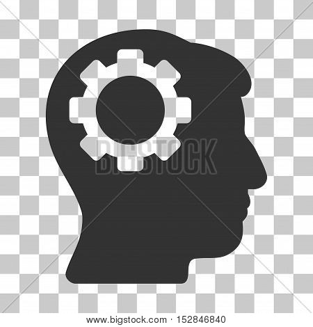 Gray Brain Gear interface pictogram. Vector pictograph style is a flat symbol on chess transparent background.