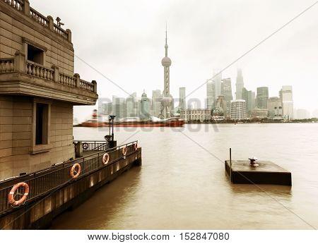 China Shanghai Pudong New Area City Skyline.