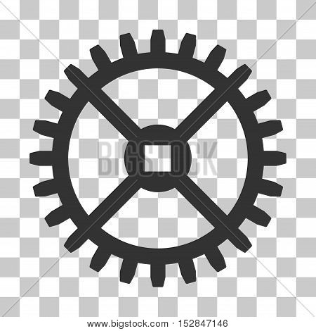 Gray Clock Gear interface toolbar icon. Vector pictograph style is a flat symbol on chess transparent background.