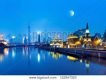 China Shanghai Pudong New Area Horizon night.