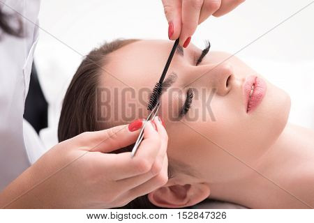 Professional beautician is tweezing female eyebrows and combing it by brush. Young girl is lying with serenity