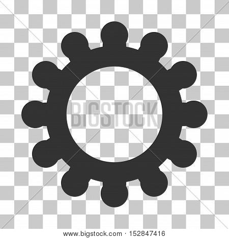 Gray Cog interface pictogram. Vector pictograph style is a flat symbol on chess transparent background.