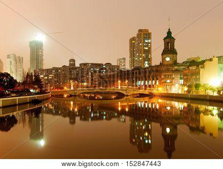 Shanghai China the old city night scene