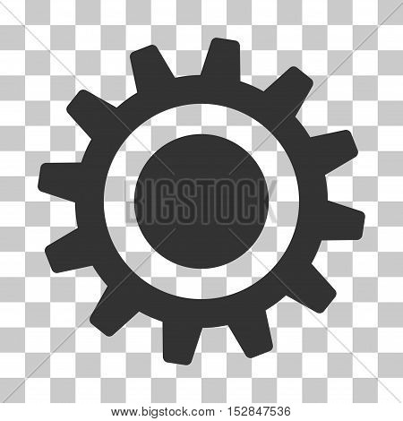 Gray Cog interface toolbar icon. Vector pictogram style is a flat symbol on chess transparent background.