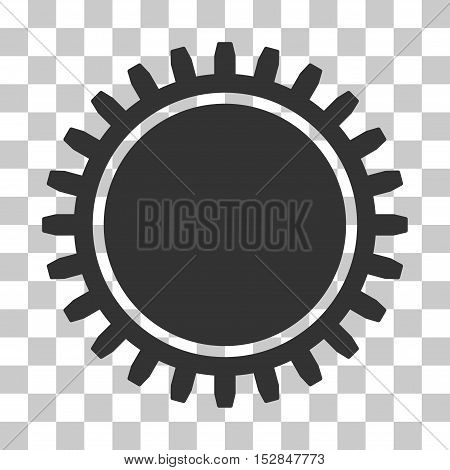 Gray Cogwheel interface toolbar icon. Vector pictogram style is a flat symbol on chess transparent background.