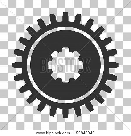 Gray Cogwheel interface pictogram. Vector pictograph style is a flat symbol on chess transparent background.