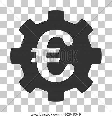 Gray Euro Development Gear interface toolbar pictogram. Vector pictogram style is a flat symbol on chess transparent background.