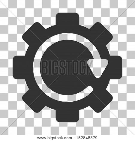 Gray Gear Rotation Direction toolbar icon. Vector pictograph style is a flat symbol on chess transparent background.