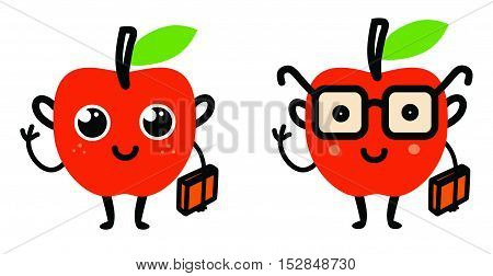 cute cartoon red apple with a book and glasses