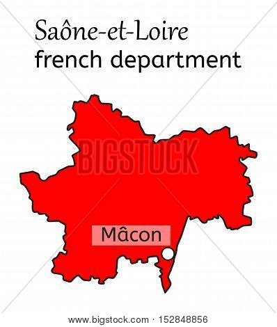 Saone-et-Loire french department map on white in vector