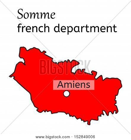 Somme french department map on white in vector
