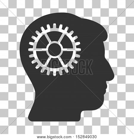 Gray Intellect Cog interface toolbar pictogram. Vector pictogram style is a flat symbol on chess transparent background.