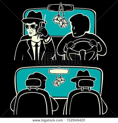 The driver and passenger in the car vector illustration