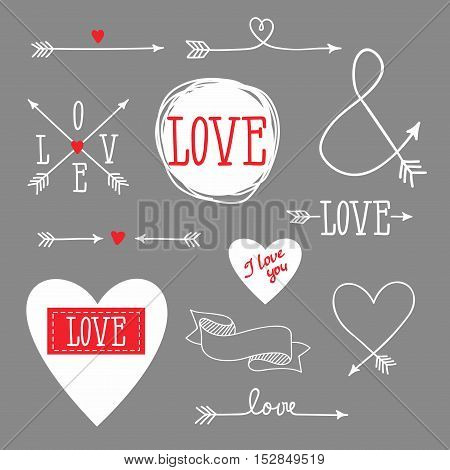 Vector Illustration: set of elements for design - arrows, hearts, love
