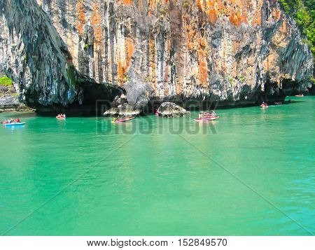 The canoes boats on ocean of Phang Nga National Park in Thailand