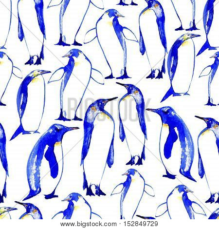 penguins seamless pattern.arctic animals.watercolor hand drawn illustration.white background.