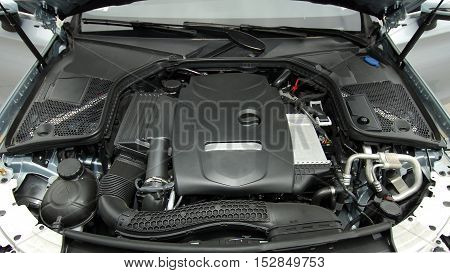 Close up of car engine, studio shot
