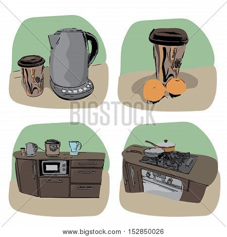 Kitchen icon - four variations - hand drawn illustration
