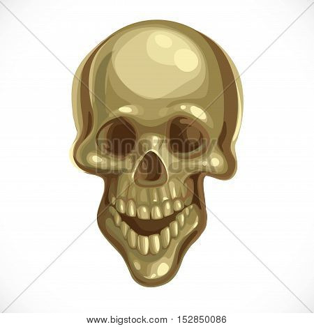 Ancient Terrible Bronze Skull Isolated On White Background